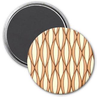 Mid-Century Ribbon Print - camel tan and cream Fridge Magnet