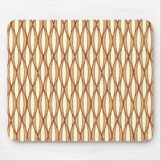 Mid-Century Ribbon Print - camel tan and cream Mouse Pad