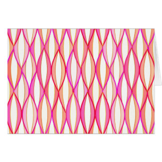 Mid-Century Ribbon Print - coral and pink Stationery Note Card