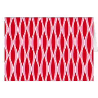 Mid-Century Ribbon Print - deep red and pink Stationery Note Card