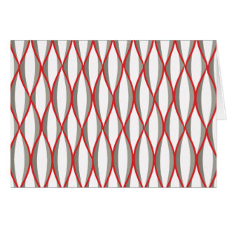 Mid-Century Ribbon Print - grey, white, red Stationery Note Card