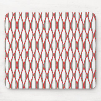 Mid-Century Ribbon Print - grey, white, red Mouse Pad