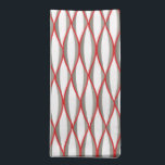 """Mid-Century Ribbon Print - grey, white, red Napkin<br><div class=""""desc"""">Mid-Century Modern abstract ribbon print in shades of charcoal grey / gray with white,  accented with deep red</div>"""