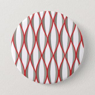 Mid-Century Ribbon Print - grey, white, red Pinback Button