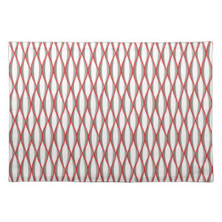 Mid-Century Ribbon Print - grey, white, red Placemat