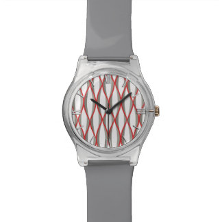 Mid-Century Ribbon Print - grey, white, red Wrist Watch