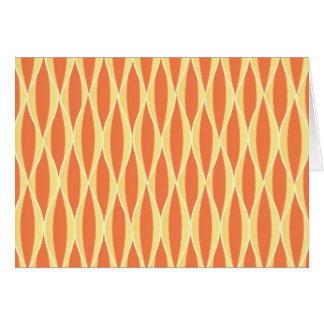 Mid-Century Ribbon Print - orange and yellow Stationery Note Card