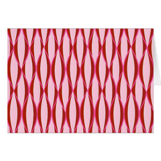 Mid-Century Ribbon Print - pink and burgundy Stationery Note Card