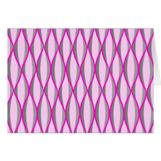 Mid-Century Ribbon Print - pink and grey / gray Stationery Note Card