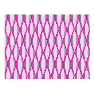 Mid-Century Ribbon Print - pink and grey / gray Post Cards