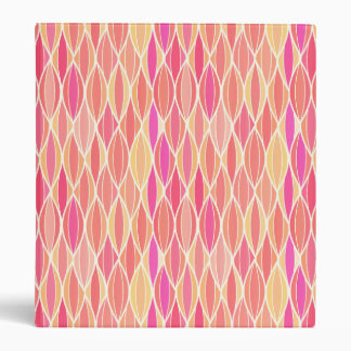 Mid-Century Ribbon Print - pink, coral and gold Binder