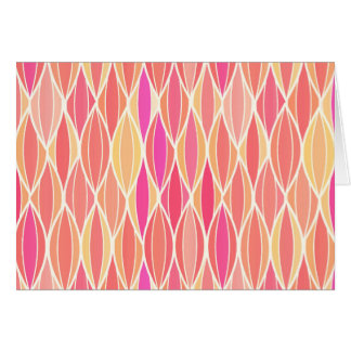 Mid-Century Ribbon Print - pink, coral and gold Stationery Note Card