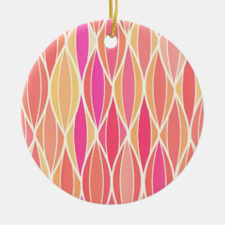 Mid-Century Ribbon Print - pink, coral and gold Ceramic Ornament