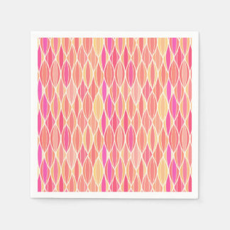 Mid-Century Ribbon Print - pink, coral and gold Paper Napkins