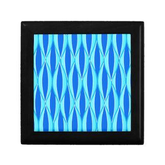 Mid-Century Ribbon Print - shades of blue Keepsake Box