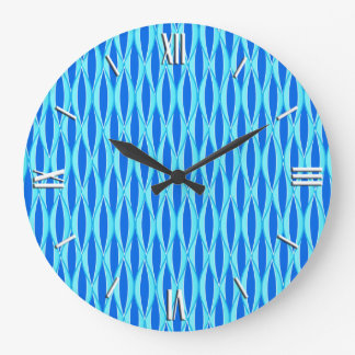 Mid-Century Ribbon Print - shades of blue Large Clock