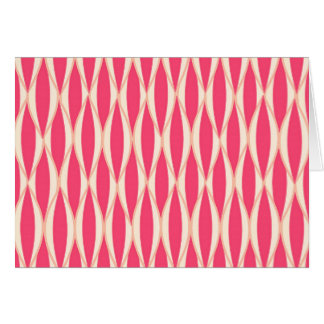 Mid-Century Ribbon Print - shades of coral Stationery Note Card