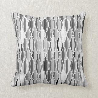 midcentury ribbon print shades of grey gray throw pillow