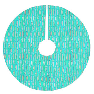 Mid-Century Ribbon Print - shades of turquoise Brushed Polyester Tree Skirt