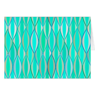 Mid-Century Ribbon Print - shades of turquoise Stationery Note Card