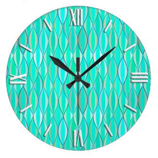 Mid-Century Ribbon Print - shades of turquoise Large Clock