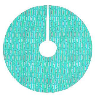 Mid-Century Ribbon Print - shades of turquoise Brushed Polyester Tree Skirt