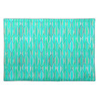 Mid-Century Ribbon Print - shades of turquoise Placemat