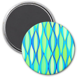 Mid-Century Ribbon Print - turquoise and lime 3 Inch Round Magnet