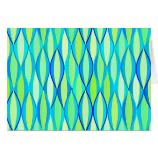 Mid-Century Ribbon Print - turquoise and lime Stationery Note Card