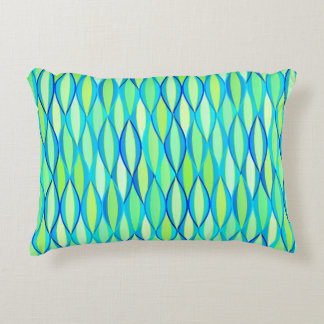 Mid-Century Ribbon Print - turquoise and lime Decorative Pillow