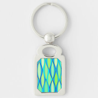 Mid-Century Ribbon Print - turquoise and lime Keychain