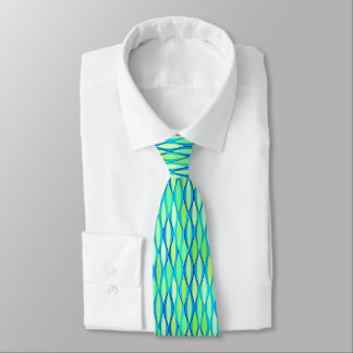 Mid-Century Ribbon Print - turquoise and lime Neck Tie