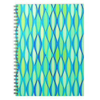 Mid-Century Ribbon Print - turquoise and lime Notebook