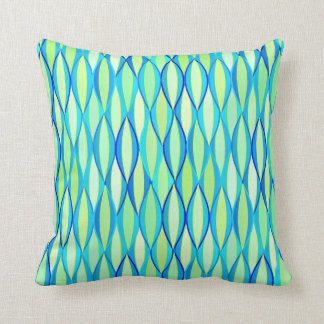 Mid-Century Ribbon Print - turquoise and lime Throw Pillow