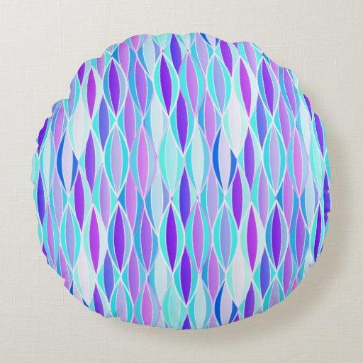 Mid-Century Ribbon Print - violet and aqua Round Pillow Zazzle