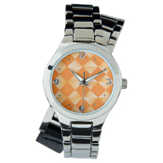 Mid-Century Satin Diamonds - mandarin orange Wrist Watch
