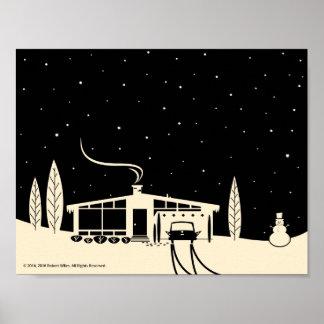 Mid-Century Snowscene-Black Poster