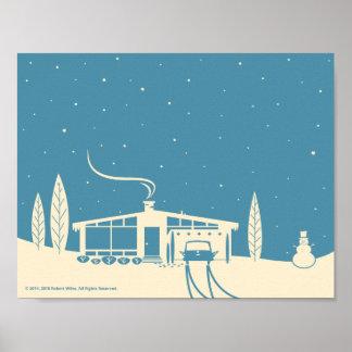 Mid-Century Snowscene-Blue Poster