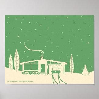 Mid-Century Snowscene-Green Poster