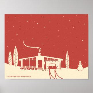Mid-Century Snowscene-Red Poster