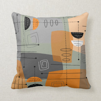 Mid-Century Space Age Abstract Throw Pillow