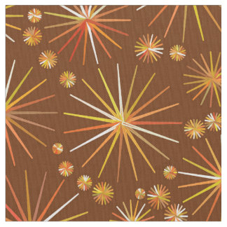 Mid Century Sputnik pattern, Chocolate Brown Fabric
