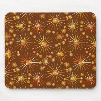Mid Century Sputnik pattern, Chocolate Brown Mouse Pad