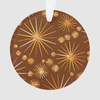 Mid Century Sputnik pattern, Chocolate Brown Ornament