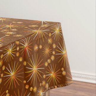 Mid Century Sputnik pattern, Chocolate Brown Tablecloth