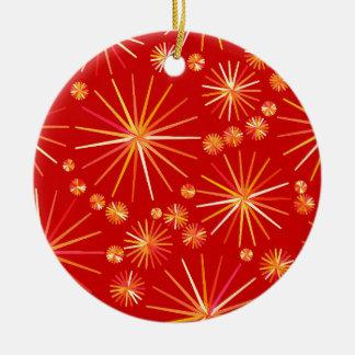 Mid Century Sputnik pattern, Deep Red Ceramic Ornament