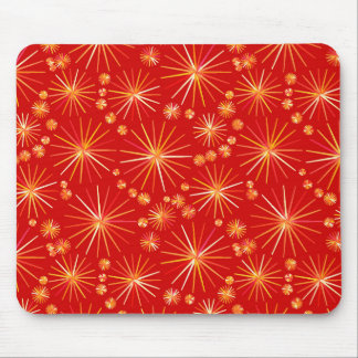 Mid Century Sputnik pattern, Deep Red Mouse Pad