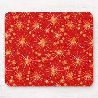 Mid Century Sputnik pattern, Deep Red Mouse Pad