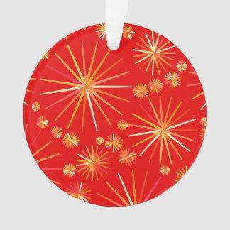 Mid Century Sputnik pattern, Deep Red Ornament
