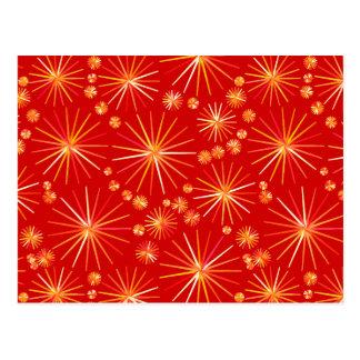 Mid Century Sputnik pattern, Deep Red Postcard